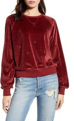 Rails Mika Heart Embroidery Velvet Sweatshirt