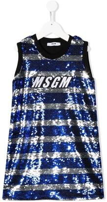 Msgm Kids Striped Sequin Dress