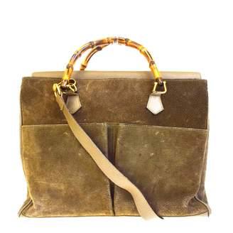 Gucci Bamboo Khaki Suede Handbags