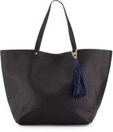 Neiman Marcus Saffiano Faux-Leather Tassel Tote Bag, Black