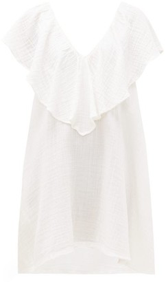 Anaak - Brigitte Ruffled-neck Cotton-gauze Dress - White