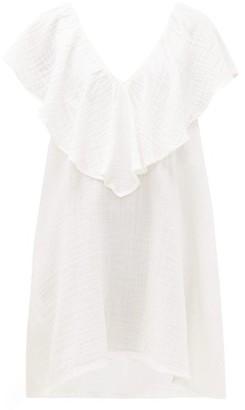 BRIGITTE Anaak Ruffled-neck Cotton-gauze Dress - Womens - White