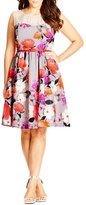 City Chic 'Pretty Posey' Belted Floral Print Fit & Flare Dress (Plus Size)