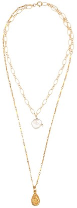 Alighieri Exclusive to Mytheresa Layers of the Sun 24kt gold-plated necklace with pearl