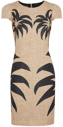 Boutique Moschino Palm-print cotton-blend mini dress
