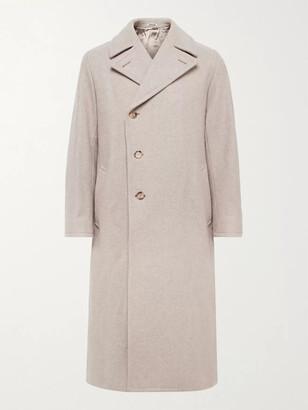 AURALEE Belted Double-Breasted Melange Wool Coat