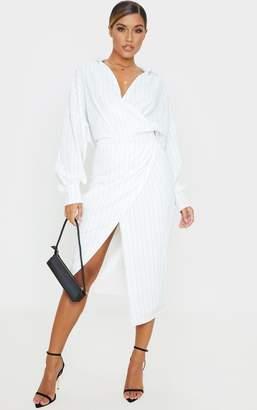 PrettyLittleThing White Pinstripe Midi Shirt Dress