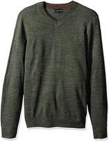 Geoffrey Beene Men's Long Sleeve Double V-Neck Sweater, Hunter Heather