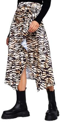 River Island Handkerchief Hem Animal Print Midi Skirt