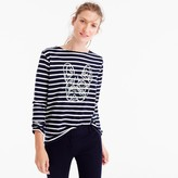 J.Crew for NET-A-PORTER® striped T-shirt with sequined Frenchie