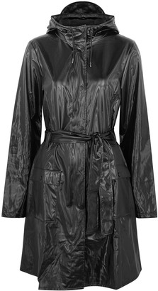 Rains Black high-shine rubberised raincoat