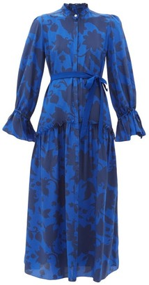 Beulah - Darsha Floral-print Silk Midi Dress - Womens - Blue Print