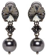 Miu Miu Gunmetal Pearl and Crystal Earrings
