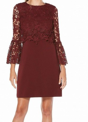 Laundry by Shelli Segal Women's Crepe Dress with Lace Popover