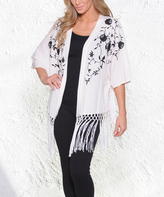 Paparazzi Cream & Black Floral Embroidery Fringe Open-Front Cardigan