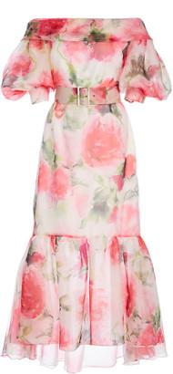 Marchesa Floral-Print Belted Silk-Blend Dress