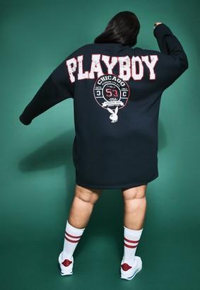 Missguided Playboy X Plus Size Navy Extreme Oversized Varsity 3/4 Zip Dress