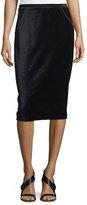 Elie Tahari Harla Satin-Trimmed Velvet Pencil Skirt