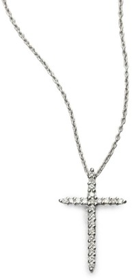 Roberto Coin Tiny Treasures 0.1 TCW Diamond & 18K White Gold Cross Pendant Necklace
