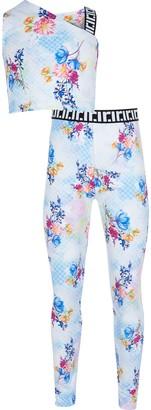 River Island Girls Blue floral print one shoulder outfit