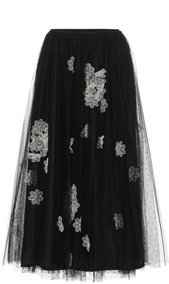 RED Valentino Appliqued tulle midi skirt