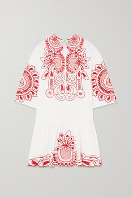 RED Valentino Embroidered Cotton-poplin Mini Dress