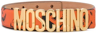Moschino Face Print Logo Buckle Belt