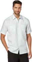 Cubavera Big & Tall Short Sleeve Linen Cotton Tucks 2 Pocket