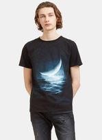 Saint Laurent Men's Moon Print Crew Neck T-shirt In Black