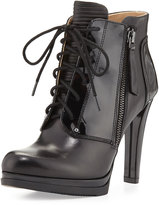 Neiman Marcus Isabelle Lace-Up Bootie, Black