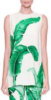 Dolce & Gabbana Sleeveless Banana Leaf-Print Tunic Blouse, White/Green