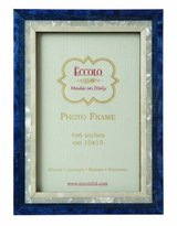 Eccolo Made in Italy Marquetry Wood Frame, Studio Blue Wood, Holds a 4 x 6-Inch Photo