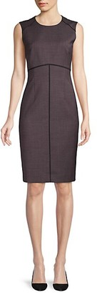 HUGO BOSS Difana Minidessin Stretch Wool Blend Sheath Dress