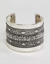 Sacred Hawk chunky engraved cuff bracelet