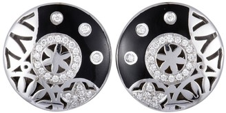 Overstock Nouvelle Bague India Preziosa White Gold and Sterling Silver Diamond Pave and Black Enamel Round Omega Earrings
