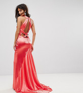 Jarlo High Neck Fishtail Maxi Dress With Strappy Open Back Detail