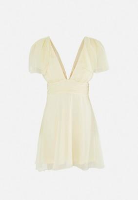 Missguided Yellow Dobby Mesh Plunge Flutter Mini Dress