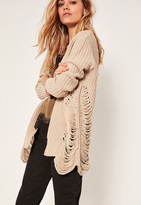 Missguided Distressed Slouchy Cardigan Nude