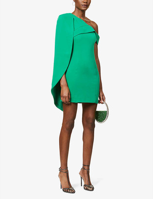 Lavish Alice One-shoulder crepe mini dress
