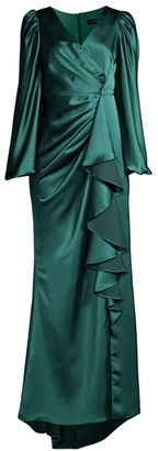 Aidan Mattox Draped Puff-Sleeve Trumpet Gown