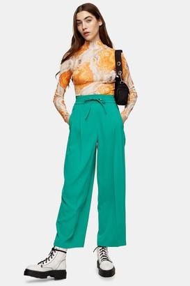 Topshop Womens Green Elastic Waist Pleated Joggers - Green