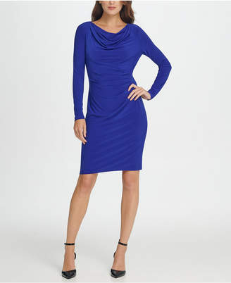 DKNY Long Sleeve Cowl Neck Pleated Sheath Dress