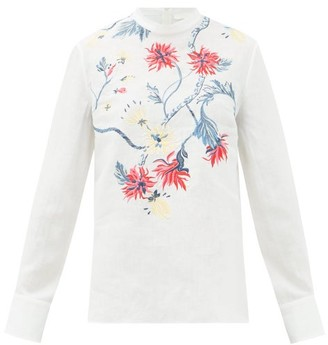 Chloé High-neck Floral-embroidered Linen Blouse - Womens - Cream