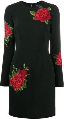 Dolce & Gabbana Cross-Stitch Embroidery Silk Dress