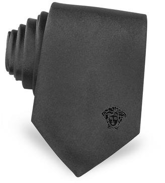 Versace Solid Silk Medusa Narrow Tie