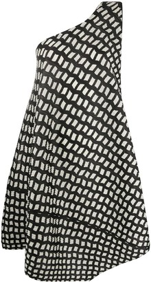 Pleats Please Issey Miyake Patterned One-Shoulder Dress