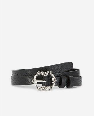 The Kooples Skinny snake-effect black leather belt