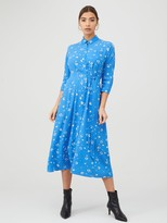 Whistles Watercolour Animal Side Tie Midi Dress - Blue/Multi