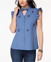 XOXO Juniors' Cotton Embellished Shirt