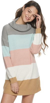 It's Our Time Juniors' Colorblock Cowlneck Sweaterdress